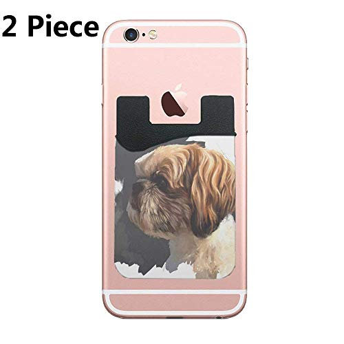Cusomcardphone Two Secure Cell Phone Stick On Wallet Card Holder Phone Pocket for All Smartphones (Shih Tzu Original Art)
