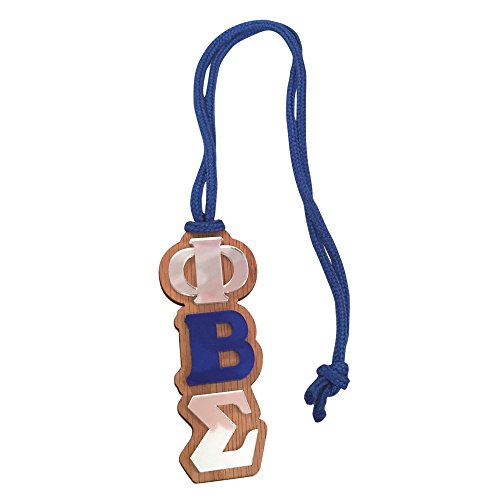 Phi Beta Sigma Fraternity #MED-O Oak Wood Backed Mirror Letter Greek Medallion 16 Inch Long Tiki Necklace (Medallion Tennis)