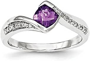 14K White Gold Diamond & Amethyst Ring / Ctw. 0.04, Gem Ctw. 0.55