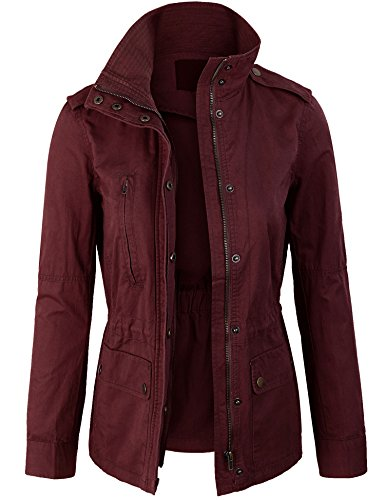 KOGMO Womens Zip Up Military Anorak Safari Jacket Coat -2X-Wine
