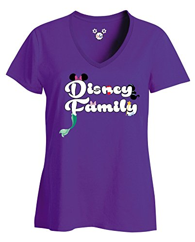 DisGear Disney Family Characters Adult Ladies T-Shirt (Large, Purple) (Adult Clothing For Women)