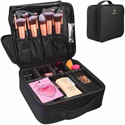 Travel Makeup Case,Relavel Makeup Bag Cosmetic Case Train Case Adjustable Storage Organizer Waterproof Double layer Bag (Black)