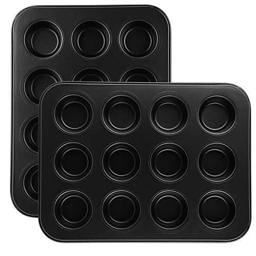 Winner666 2019 2PCS Mini Non-Stick 12 Cup Muffin Bun Cupcake Baking Bakeware Mould Tray Pan Mold Kitchen (Black)