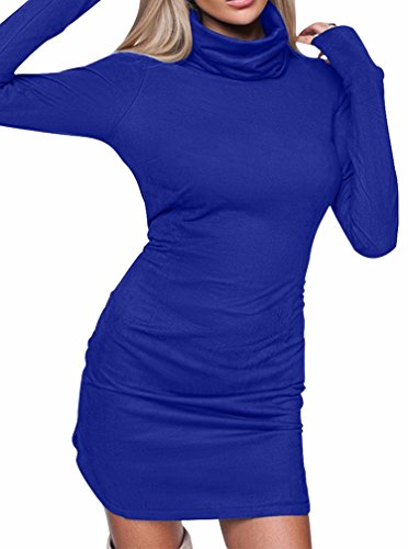 Side BEAGIMEG Bodycon Long Mini Royal Blue Slit Casual Sleeve Turtleneck Dress Women's rwxIAqnUrH