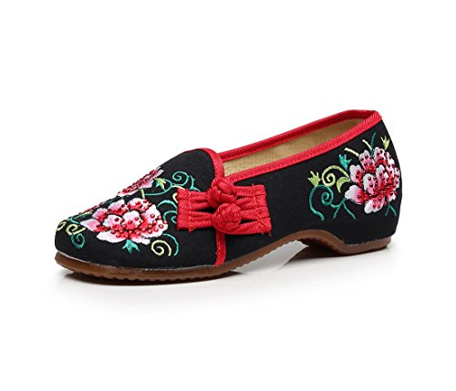 Lazutom Women Lady Vintage Chinese Style Embroidery Flat Loafers Shoes Casual Walking Shoes Black