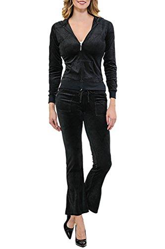 ViiViiKay Women's Soft Velour Tracksuit Athletic Zip Up Hoodie & Sweat Pants Set 001_BLACK ()
