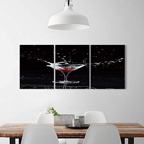 Triptych Painting Combination Frameless strawberry splashing into martini glass Restaurant Bedroom Painting W24