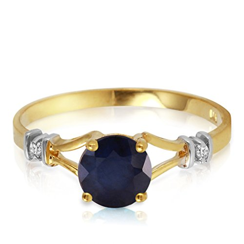 14k Yellow Gold Ring with Natural Diamonds and Sapphire - Size 7.5 ()