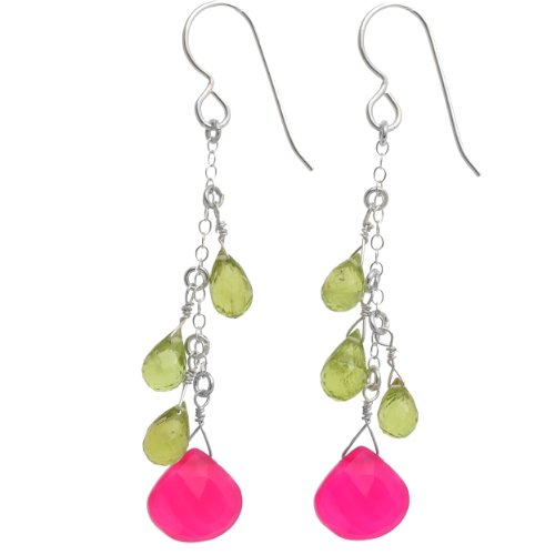 (ASHANTI Hot Pink Chalcedony and Peridot Briolette Natural Gemstone Sterling Silver Handmade Earrings)