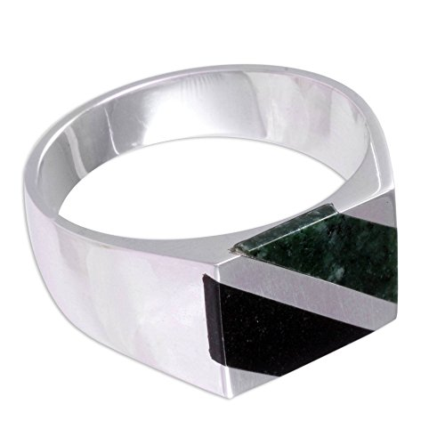 NOVICA Jade .925 Sterling Silver Artisan Crafted Modern Ring, Lord of the Land'