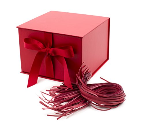 Hallmark 7″ Large Gift Box with Fill (Red) for Birthdays, Christmas, Bridal Showers, Weddings, Baby Showers and More