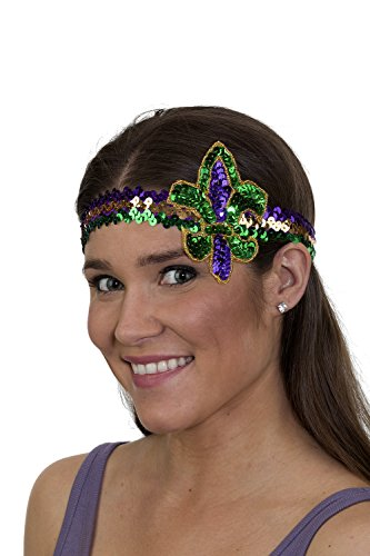 Jacobson Hat Company Unisex-Adult's Mardi Gras Fluer Di Lis Headband, Purple, Adjustable]()