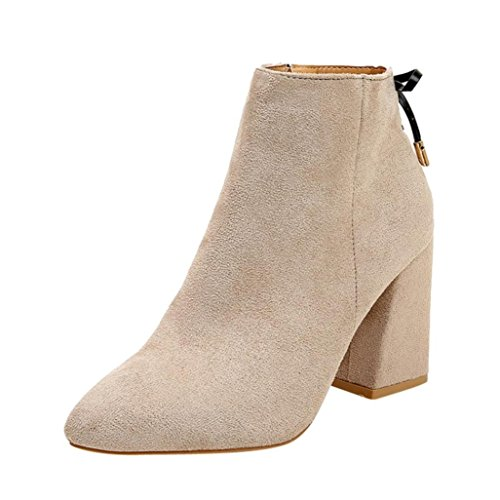 Womens Wedges Booties 5.5-7.5,Classic Thick Bottom Ankle Boots with Zipper (Beige, US:5.5) by Aurorax-Shoes