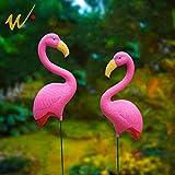 W-DIAN 2 Small Pink Flamingo Mini Lawn Ornaments Yard Art Decor 34inch
