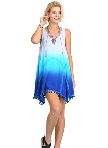 Umgee Bohemian Ombre Dress With Tassel Trim (Large, Blue)