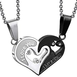 2 Pièces Acier Inoxydable Collier Couple Amoureux pour 2, Pendentif Couple Amoureux, Coeur Collier Pendentif Femme Homme…