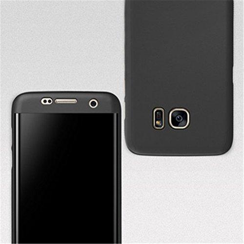 Coque Galaxy S6 Case 360 Degree Protection Hard PC 3 en 1 Full Body Cover Adamark Housse Integrale Bumper Etui Case Protège Écran en Verre Trempé Pour Samsung Galaxy S6 Noir