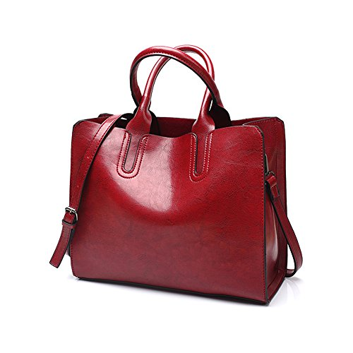Wax Chikencall party Bag Handle Handbags Women Ladies Vintage work Handbag Satchel for Top Oil Bag Burgundy Elegant PU Leather shopping Shoulder qBqwErH
