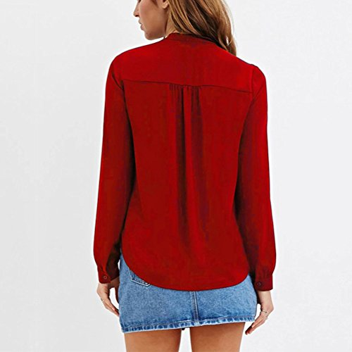 Zhhlaixing relajado Chiffon Bowknot Shirts Big Yards Collar Women's Long Sleeve Loose T-Shirts Personality Tops Dark Red