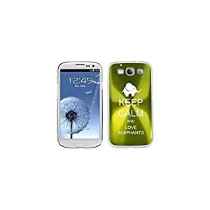 Green Samsung Galaxy S III S3 Aluminum Plated Hard Back Case Cover K1195 Keep Calm and Love Elephants