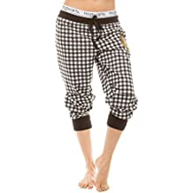 Underboss Womens Ladies Harry Potter Hogwarts Black and White Plaid Jogger Pants with Drawstring Waist (See More Sizes)