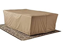 """Protect your investment with a cover that extends the life of your Patio Furniture ... it's generous size (118"""" x 70"""" x 34.5"""" H) fits most patio furniture sets. Reinforced ties secure the cover to your furniture. Provides long lasting protect..."""