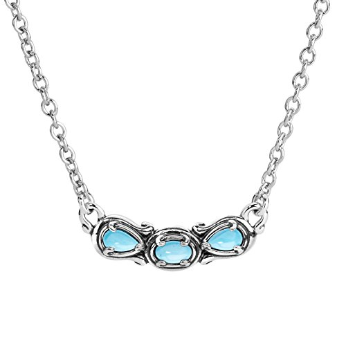 Carolyn Pollack Sterling Silver Blue Turquiose Gemstone 3 Stone Necklace 16 to 18 Inch