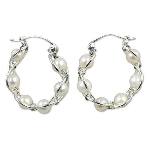 NOVICA White Cultured Freshwater Pearl .925 Sterling Silver Hoop Earrings 'Cloud Twist'