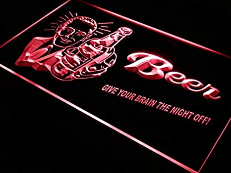 ADVPRO Cartel Luminoso j027-r Beer Give Your Brain Night Off ...