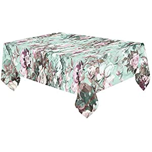 InterestPrint Watercolor Beautiful Bouquet of Roses Flowers Tablecloth Table Cover Cotton Linen Rectangle Home Decor for Dining Room, Tea Table, Picnics, Parties, 60 x 120 Inch 53