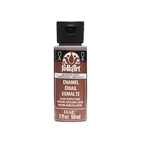 FolkArt Enamel Glitter and Metallic Paint in Assorted Colors (2 oz), 2843, Metallic Antique Copper from FolkArt