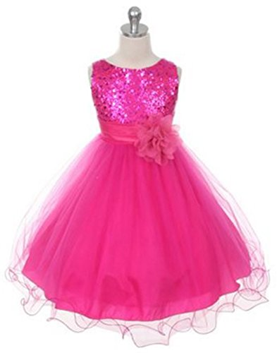 Sequined Bodice (Yaya Fairies Efavormart Glittery Sequined Bodice and Double Layered Mesh Girls Dress - Fushia (Hot Pink) - Child6-7yrs)