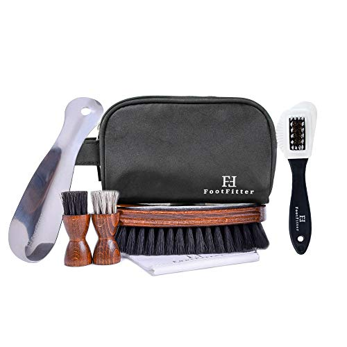 FootFitter Men's Travel Shoe Care Set - Cleaning/Polishing Brushes, Shoehorn, Shine Cloth, Travel Bag! from FootFitter