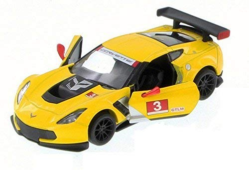 (Chevy Corvette C7 Race Car #3, Yellow w/ Decals - Kinsmart 5397D - 1/36 Scale Diecast Model Toy Car (Brand New but NO)