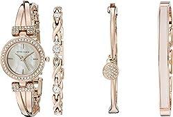 Anne Klein Women's AK/2238RGST Swarovski Crystal-Accented Rose Gold-Tone Bangle Watch and Bracelet Set