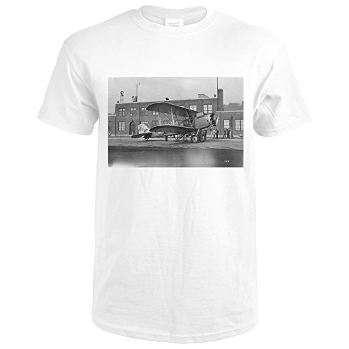 Airmail Plane at Boeing Field Photograph (Premium White T-Shirt Medium)