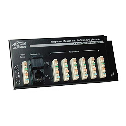 Telephone Master Hub 4 x 6 Phone Line Distribution Module RJ-45 Expansion, RJ-31X Security System Connection with 110 Punch Down Connectors