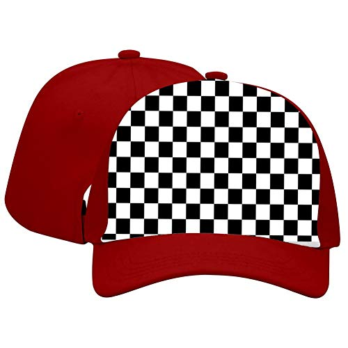 Men Women Black & White Checkerboard Squares Adjustable Baseball Cap Hat Red
