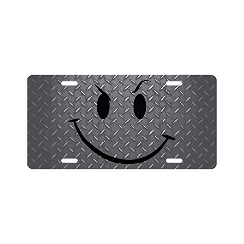 Dark Branches Smiley Face License Plate Diamond Plate Look Novelty Tag ()