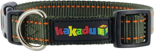 Kakadu Pet Empire Tracks Adjustable Nylon Dog Collar, 1/2″ x 10-14″, Forest (Green with Orange Stitch), My Pet Supplies