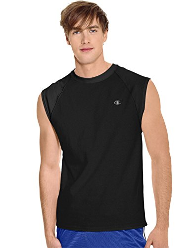 Champion Men's Jersey Muscle T-Shirt, Black, Small
