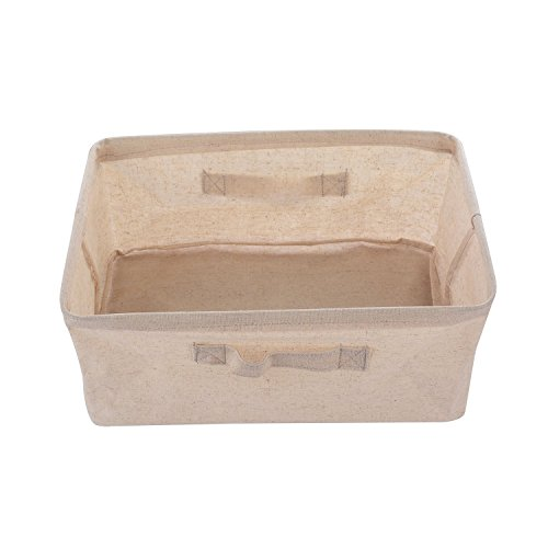 Cotton Linen Foldable Cloth Storage Cuboid Basket Bins Organizer Containers Beige Series Shallow Mouth Handle Ditty (14.9''x10.6''x5.9'')