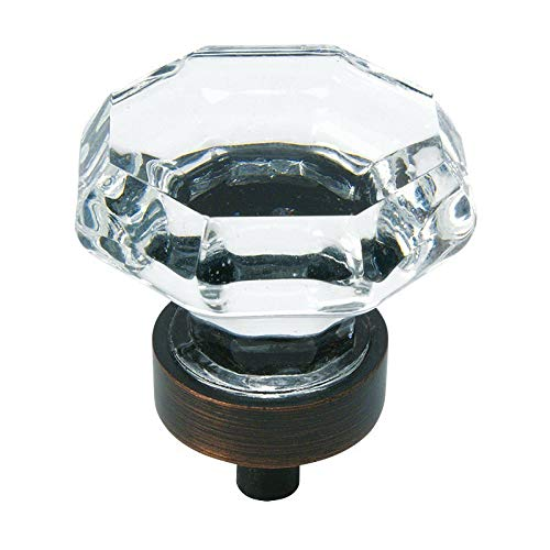 (5 Pack - Cosmas 5268ORB-C Oil Rubbed Bronze Cabinet Knob with Clear Glass - 1-5/16