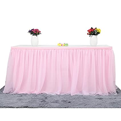 Pink Round Table.Suppromo 14ft Pink Table Skirt Tulle Tutu Table Cloth For Rectangle Or Round Table For Party Wedding Birthday Party Home Decoration Table Skirting