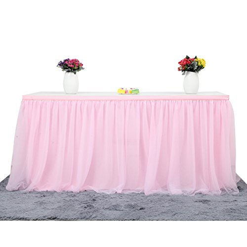 Suppromo 14ft Pink Table Skirt Tulle Tutu Table Cloth for Rectangle or Round Table for Party,Wedding,Birthday Party&Home Decoration,Table Skirting (L14(ft) H 30in, Pink)