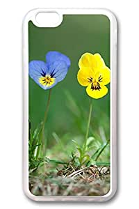 iPhone 6 Cases, Personalized Protective Case for New iPhone 6 Soft TPU Clear Edge Blue Yellow Flowers