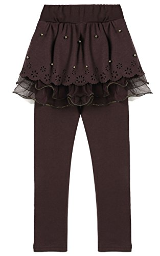 Arshiner Little Girls Winter Warm Leggings Pants with Tutu Lace Skirt,Coffee (Brown Skirt Kids)