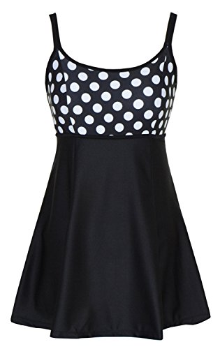 Women's One Piece Polka Dot Swimdress Cover Up Swimsuit Plus Size Modest Swimwear,Black/White Polka Dot,IT58/US22