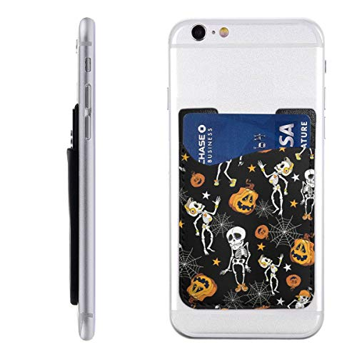 Halloween Skeletons and Pumpkins Phone Card Holder for Back of Phone, Stretchy Wallet Stick On Pocket Credit Card ID Case Pouch Compatible with All Smartphones (Card Sleeves Skeleton)