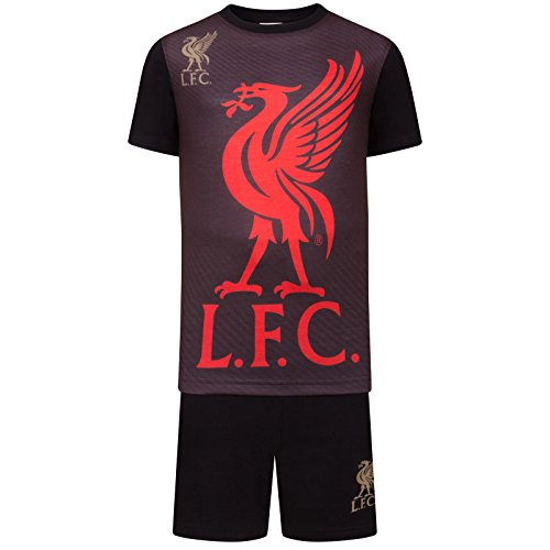 Liverpool FC Official Soccer Gift Boys Sublimation Short Pajamas Black 12-13 Yrs